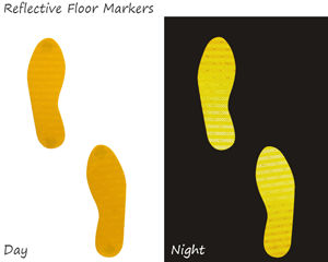 Reflective footprints can be spotted at night