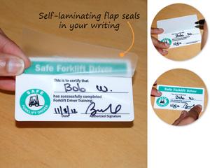 Self Laminating Safe Forklift Wallet Card