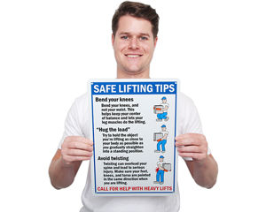 Safe Lifting Tips Hazard Sign