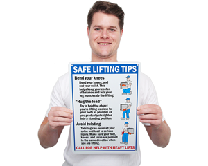 Safe Lifting Tips Hazard Sign