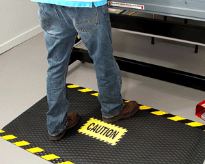 Caution (with Striped Border) Safety Message Mats
