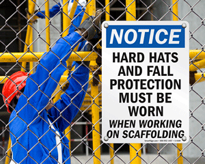 Scaffold safety sign