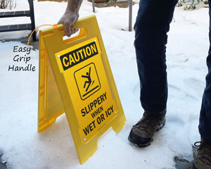 Slippery when wet or icy sign