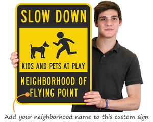 Slow Down Kids at Play Sign