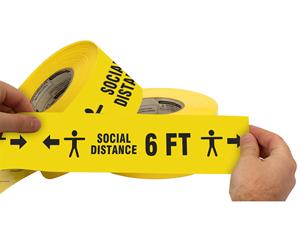 Social distancing plastic barricade tape