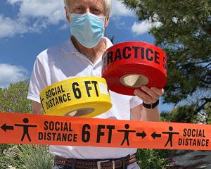 Social distancing barricade tape