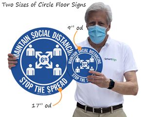 Social distancing floor signs in two sizes
