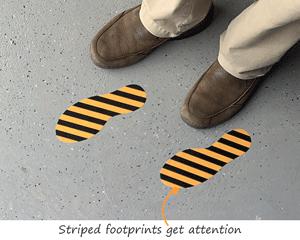 Striped footprints for floor