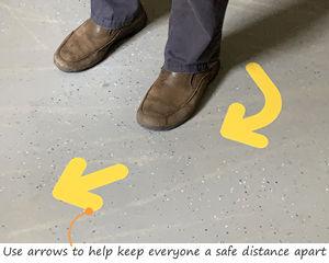 Floor arrows promote social distancing