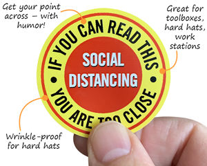 Social Distancing HardHat Stickers