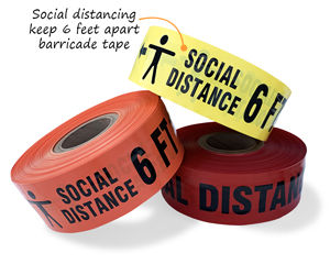 Social distancing keep 6 feet apart barricade tape