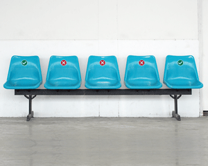 Social distancing labels for waiting room