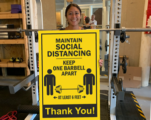 Social distancing sign for gym
