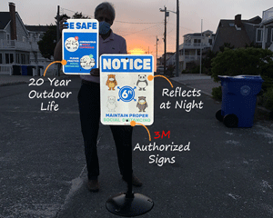 Social distancing signs for outdoors