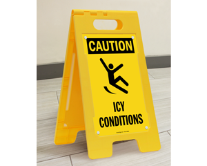 Caution Icy Conditions Stand-Up Floor Signs