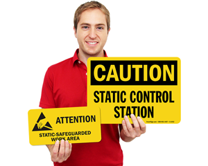 Static Grounding Labels Signs