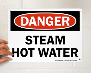 Steam Hot Water Warning Sign