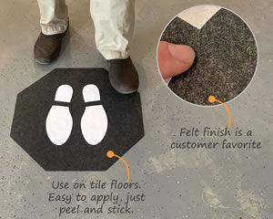 Stick and stand footprint mats