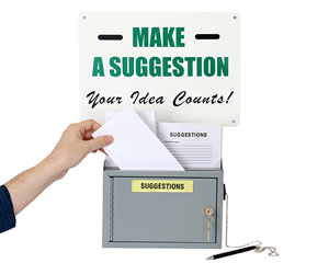 Suggestion box and suggestion sign