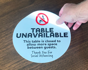 Removable Social Distancing Table Decal