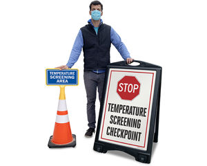 Temperature checkpoint signs