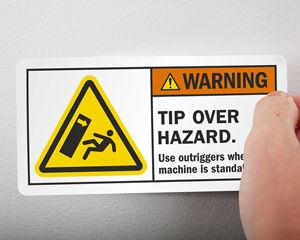 Tip over hazard label