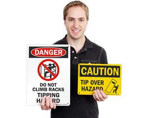 Tip over hazard signs