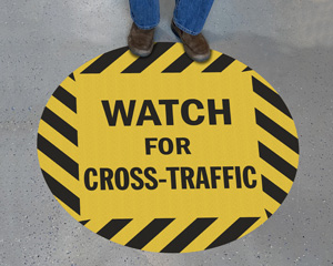 Warehouse watch for cross traffic sign