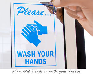 Wash your hands sticker for mirror