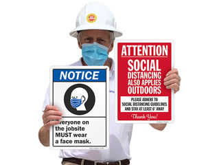 Wear a mask and social distancing signs for construction job site
