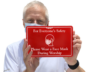 Wear face mask at church sign