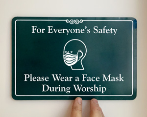 Wear face mask during worship sign