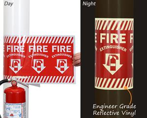 Wrap Around Fire Extinguisher Location Sign