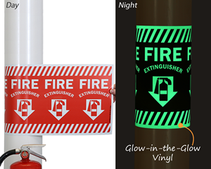 Wrap Around Arrow Fire Extinguisher Sign