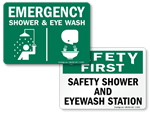Eye Wash + Shower Signs