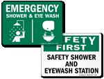 Eye Wash + Shower Signs