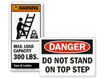 Ladder Warning Labels