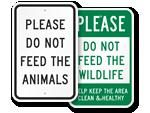No Feeding Animals Signs