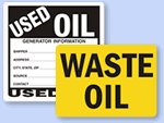 Used Oil and Waste Oil Labels