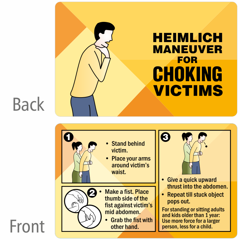 Child Saves Choking Mother By Performing Heimlich Maneuver: Heimlich Maneuver For Choking Victims Wallet Card, SKU