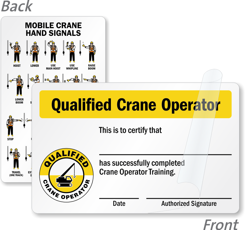 Qualified Crane Operator Wallet Card With Graphic Sku Bd 0523 Sl
