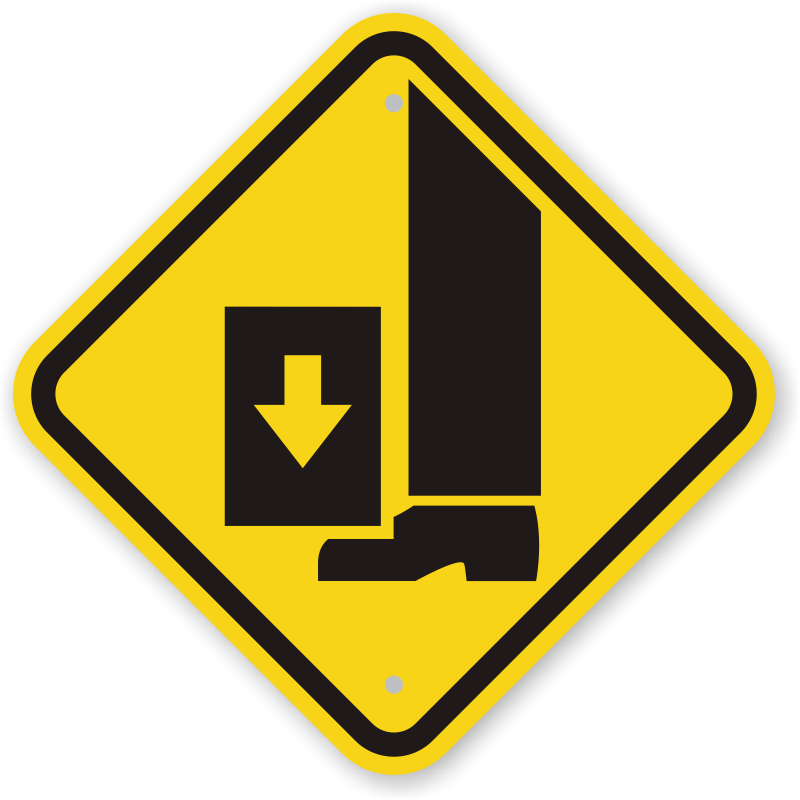 International Crushing Of Toes/Foot Hazard Symbol GHS Sign