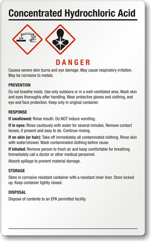 Hydrochloric Acid Signs Hydrochloric Acid Warning Signs