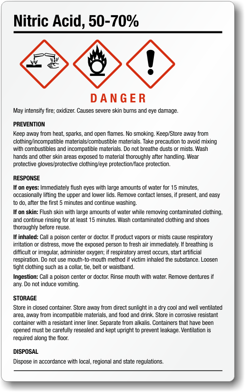 Nitric Acid Corrosive Material Signs Mysafetysign Com