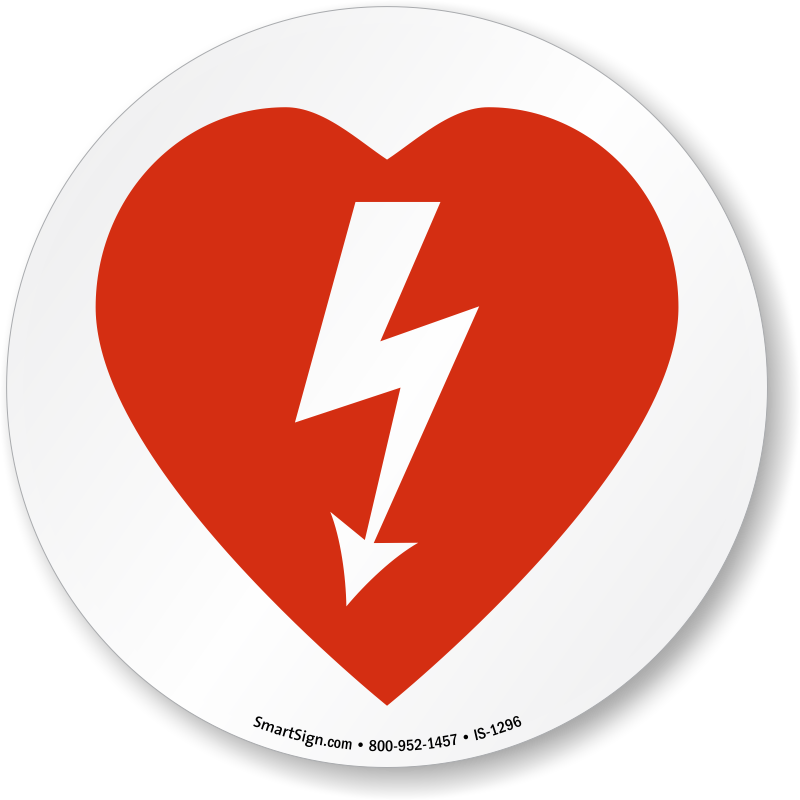 AED Automated External Defibrillator Symbol ISO Circle Sign