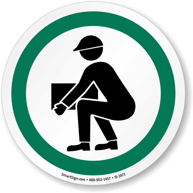 Bend Knees When Lifting ISO Sign