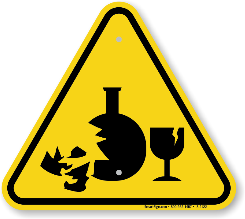 Broken Glass Hazard Symbol, ISO Warning Sign