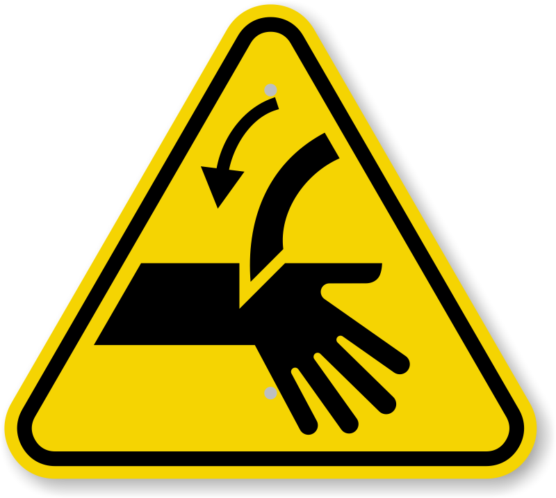 ISO Cutting of Fingers, Curved Blade Symbol Sign