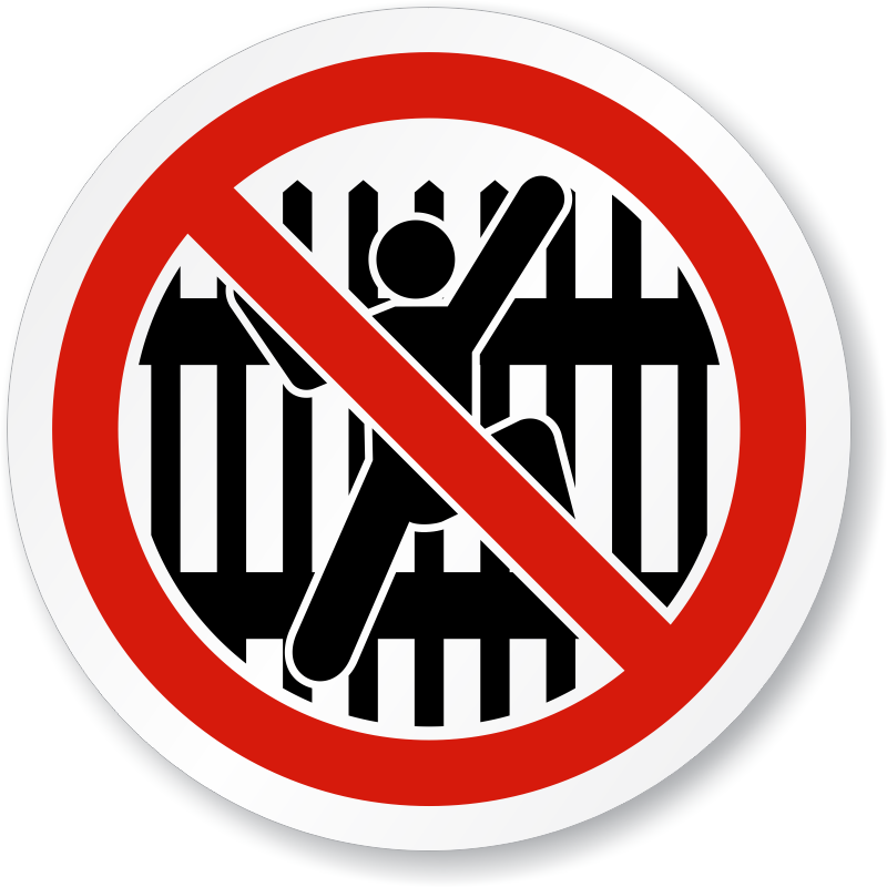 No Climbing Fence Symbol Iso Prohibited Action Sign Sku