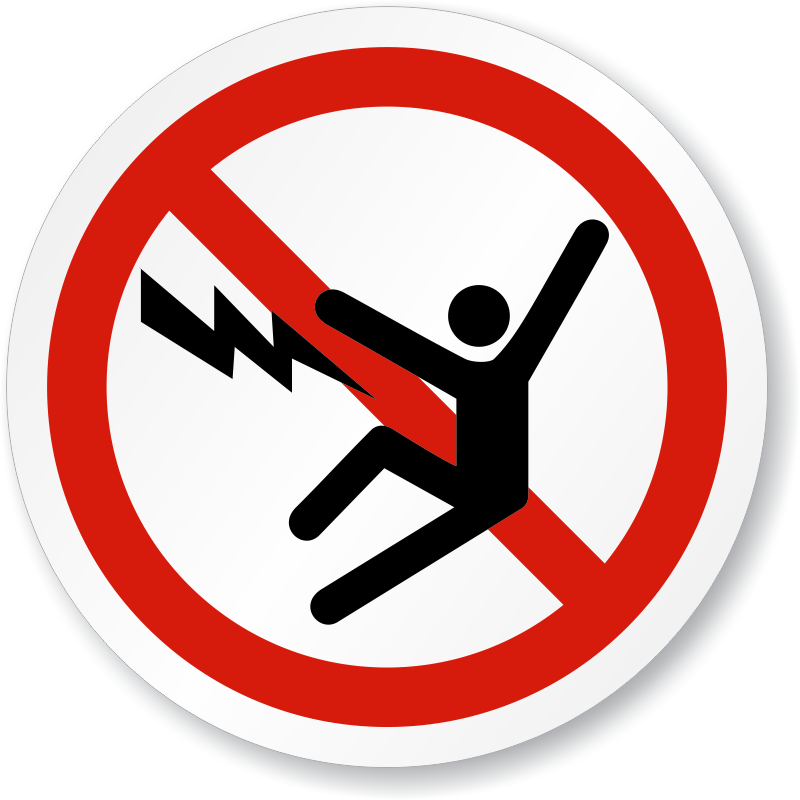 Electric Shock ISO Prohibition Sign